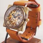 渡辺工房 手作り腕時計 自動巻き 裏スケルトンスクエア ジャンボブラス [NW-BAM027]