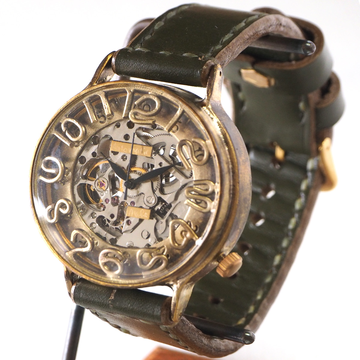 渡辺工房 手作り腕時計 自動巻 裏スケルトン ジャンボブラス 42mm 手縫いベルト [NW-BAM040-S]