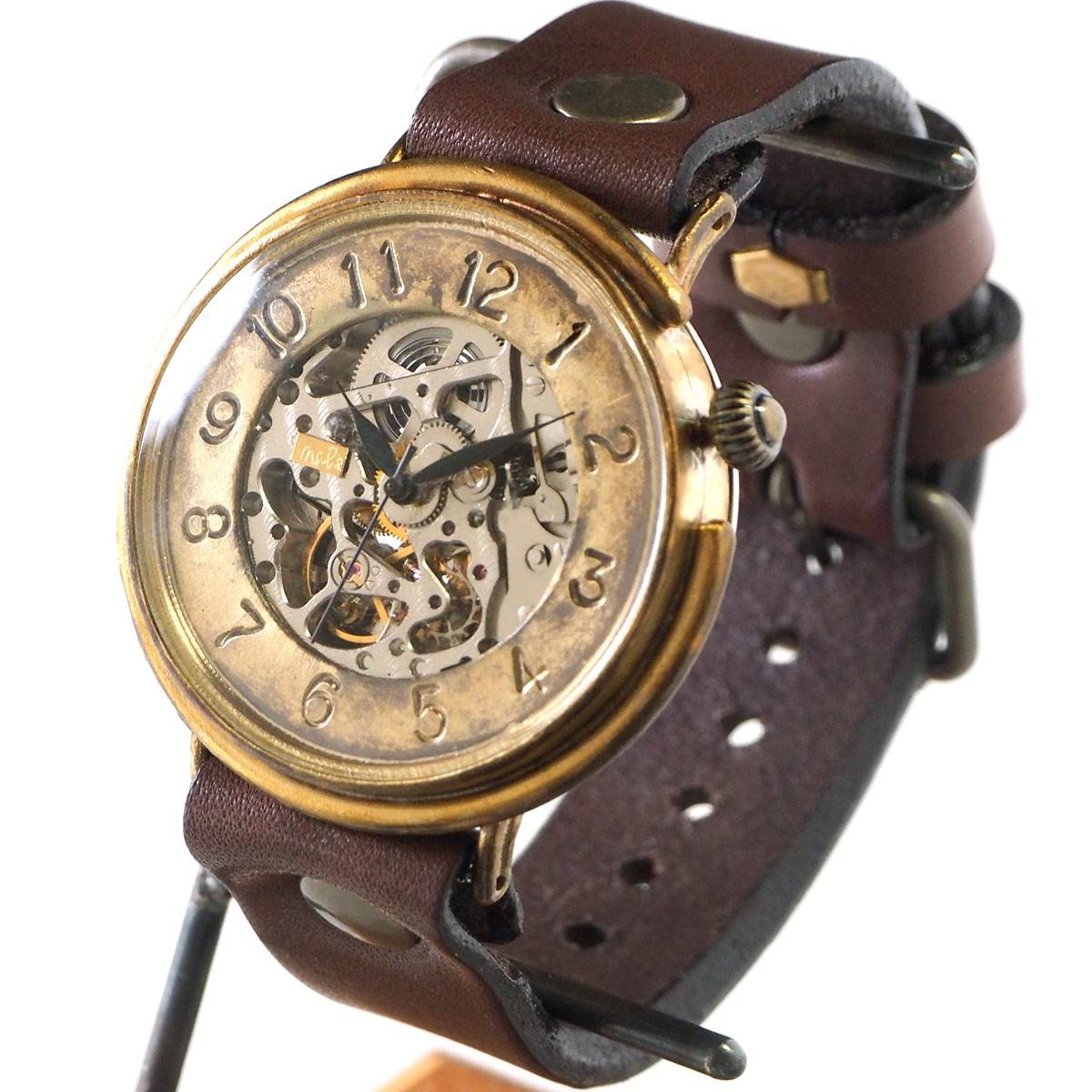 渡辺工房 手作り腕時計 自動巻 裏スケルトン ジャンボブラス プレート数字フェイス 42mm ノーマルベルト [NW-BAM043]