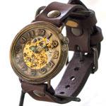 """渡辺工房 手作り腕時計  自動巻き裏スケルトン ジャンボブラス """"saucer"""" [NW-BAM044]"""