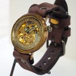渡辺工房 手作り腕時計 自動巻き裏スケルトン ジャンボブラス [NW-BAM045]
