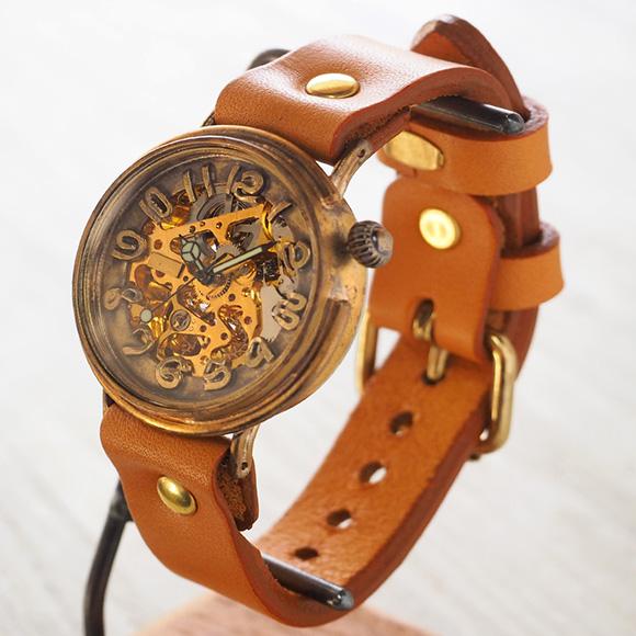 渡辺工房 手作り腕時計 自動巻き裏スケルトン サークル ジャンボブラス [NW-BAM046]