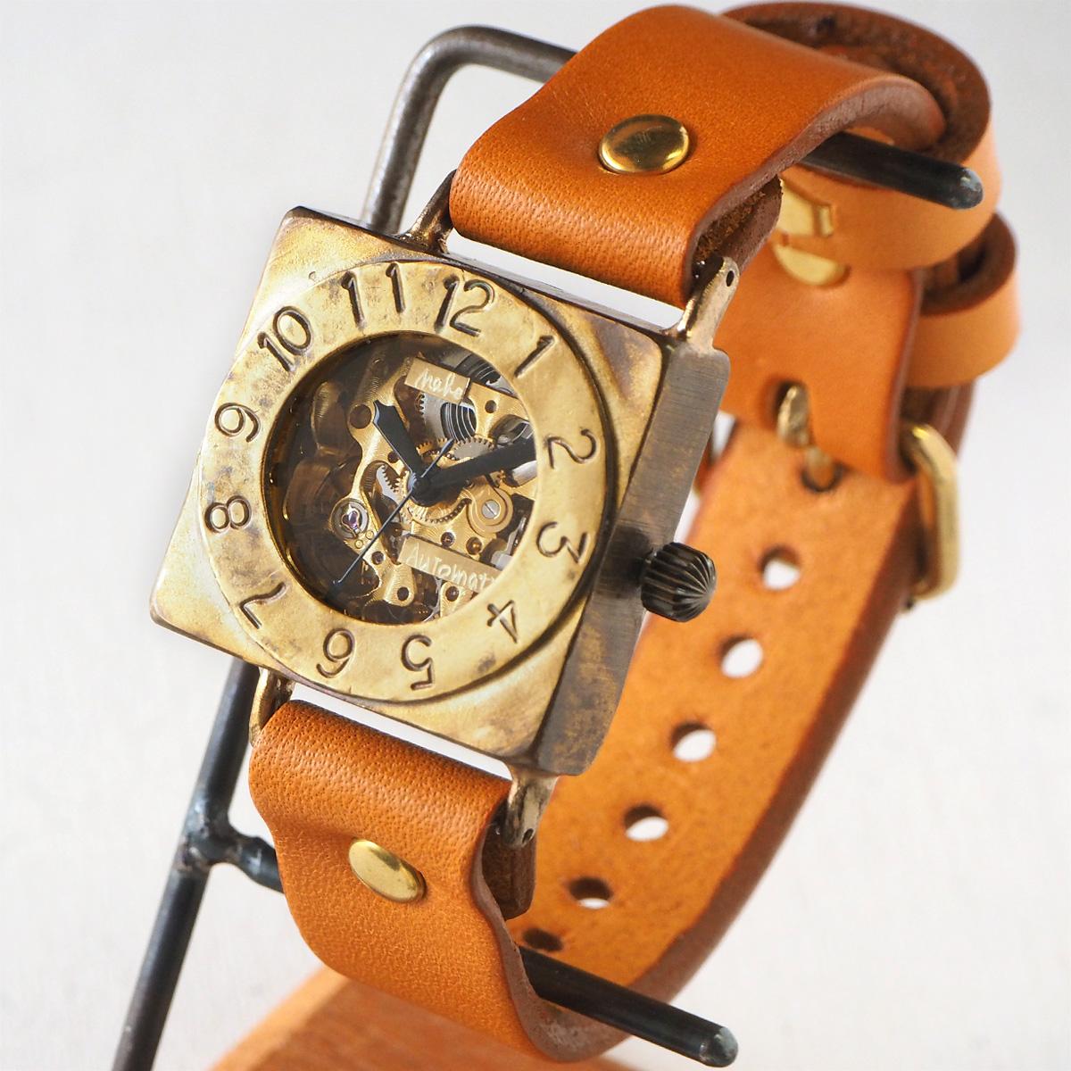 """渡辺工房 手作り腕時計 自動巻きスクエア 裏スケルトン """"LEFT"""" 手縫いベルト [NW-BAM049-T]"""