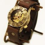 渡辺工房 手作り腕時計 手巻き式 裏スケルトン 立体ベゼル メンズブラス [NW-BHW014]
