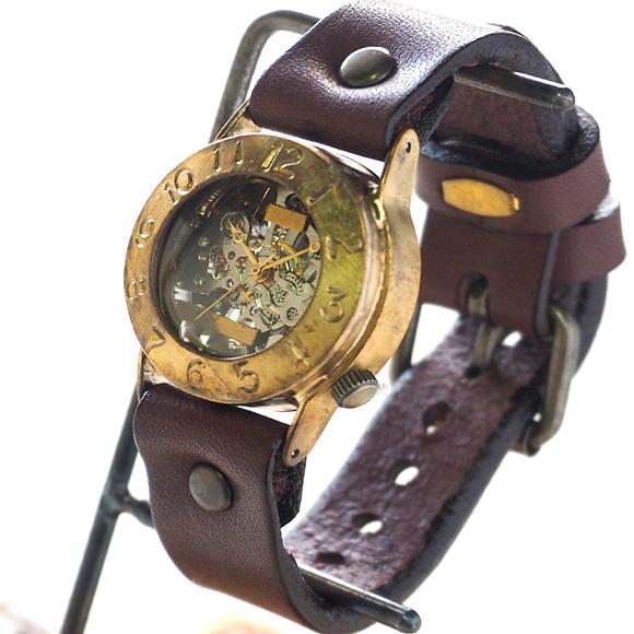 """渡辺工房 手作り腕時計 手巻き式 裏スケルトン """"Explorer2""""メンズブラス [NW-BHW014B]"""