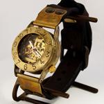 渡辺工房 手作り腕時計 手巻き式 裏スケルトン メンズブラス プレートつき革ベルト [NW-BHW014B-PL]
