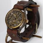 渡辺工房 手作り腕時計 立体インデックス 手巻き式 メンズブラス [NW-BHW031]