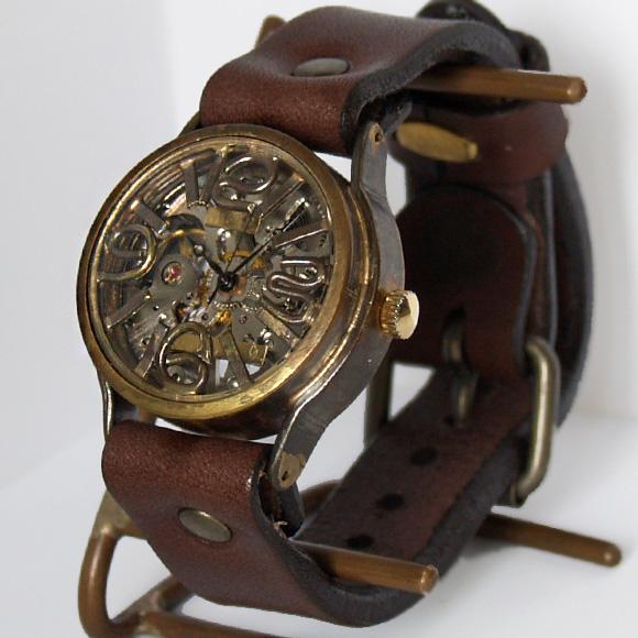 渡辺工房 手作り腕時計 立体インデックス 手巻き式 メンズブラス 裏スケルトン [BHW031]