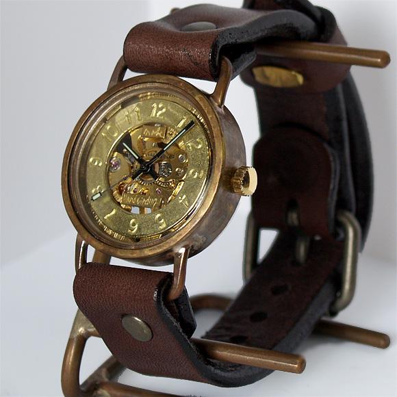 渡辺工房 手作り腕時計 手巻き式 メンズブラス 裏スケルトン [NW-BHW040]
