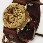 渡辺工房・渡辺正明 手作り腕時計 裏スケルトン ジャンボブラス [NW-BHW048]