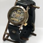 """渡辺工房 手作り腕時計 手巻き式 裏スケルトン """"Explorer""""メンズブラス [NW-BHW057]"""