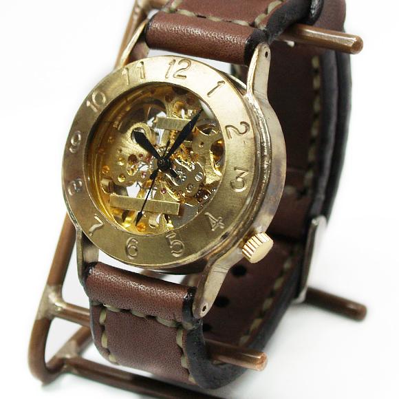 """渡辺工房 手作り腕時計 手巻き式 裏スケルトン""""Explorer"""" ジャンボブラス [NW-BHW061]"""