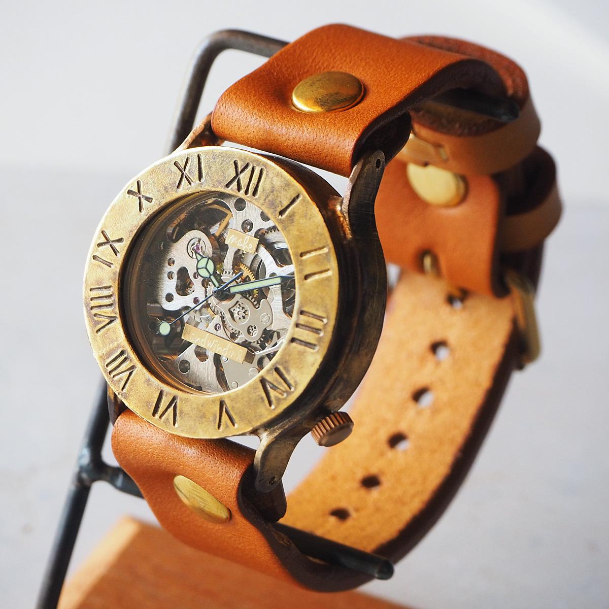渡辺工房 手作り腕時計 手巻き式 裏スケルトン ローマ数字 36mm [NW-BHW058B]