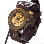 渡辺工房 手作り腕時計  裏スケルトン 手巻き式ジャンボブラスローマ数字 [NW-BHW059]