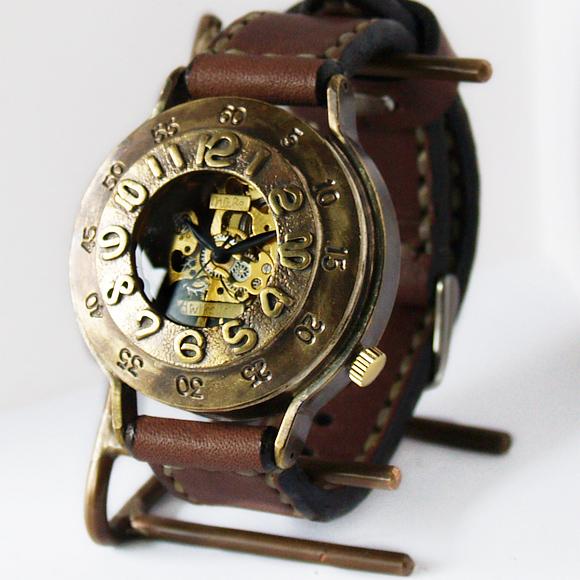 """渡辺工房 手作り腕時計 手巻き式 """"Gunboat"""" ジャンボブラス [NW-BHW061]"""