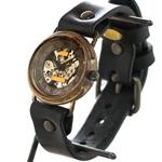 渡辺工房 手作り腕時計  裏スケルトン 手巻き式メンズブラス ローマ数字 [NW-BHW063]