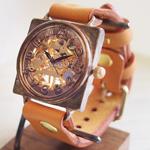 渡辺工房 手作り腕時計 手巻き式裏スケルトン スクエア ジャンボブラス [NW-BHW085]