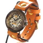 渡辺工房 手作り腕時計  手巻き式裏スケルトン サークル ジャンボブラス [NW-BHW086]
