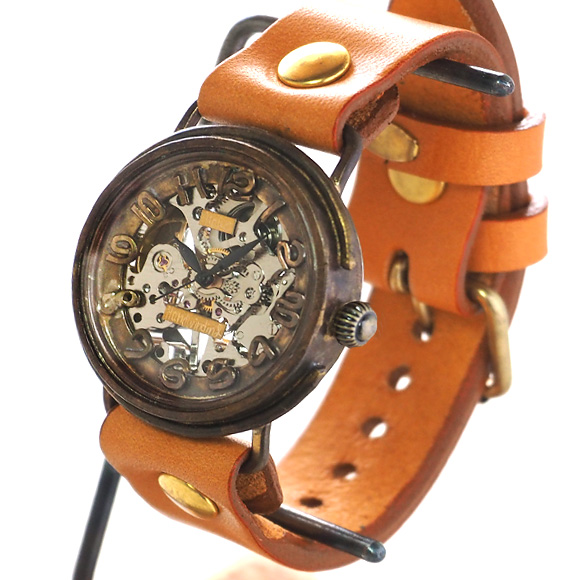 渡辺工房 手作り腕時計  裏スケルトン 手巻き式裏スケルトン サークル ジャンボブラス[NW-BHW086]