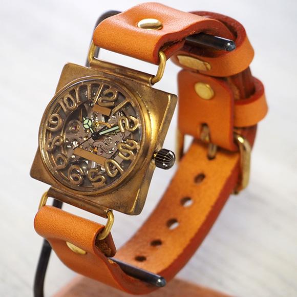 渡辺工房 手作り腕時計 手巻き式裏スケルトン スクエア 32mmメンズブラス 立体数字&刻印数字 [NW-BHW095]