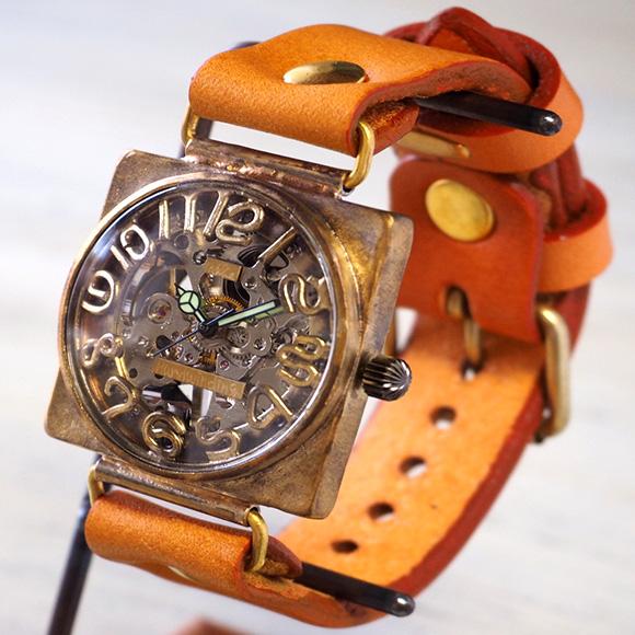 渡辺工房 手作り腕時計 手巻き式裏スケルトン スクエア 36mmジャンボブラス 立体数字&刻印数字 [NW-BHW096]