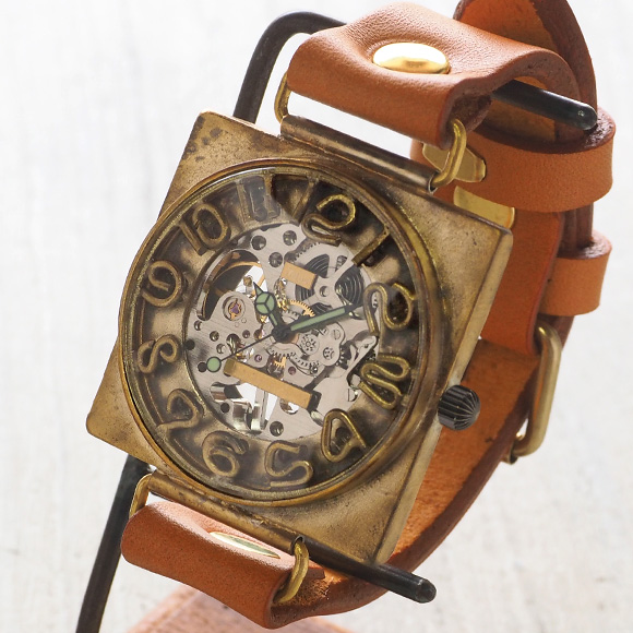 渡辺工房 手作り腕時計 手巻き式裏スケルトン スクエア 40mmジャンボブラス 立体数字&刻印数字 [NW-BHW097]