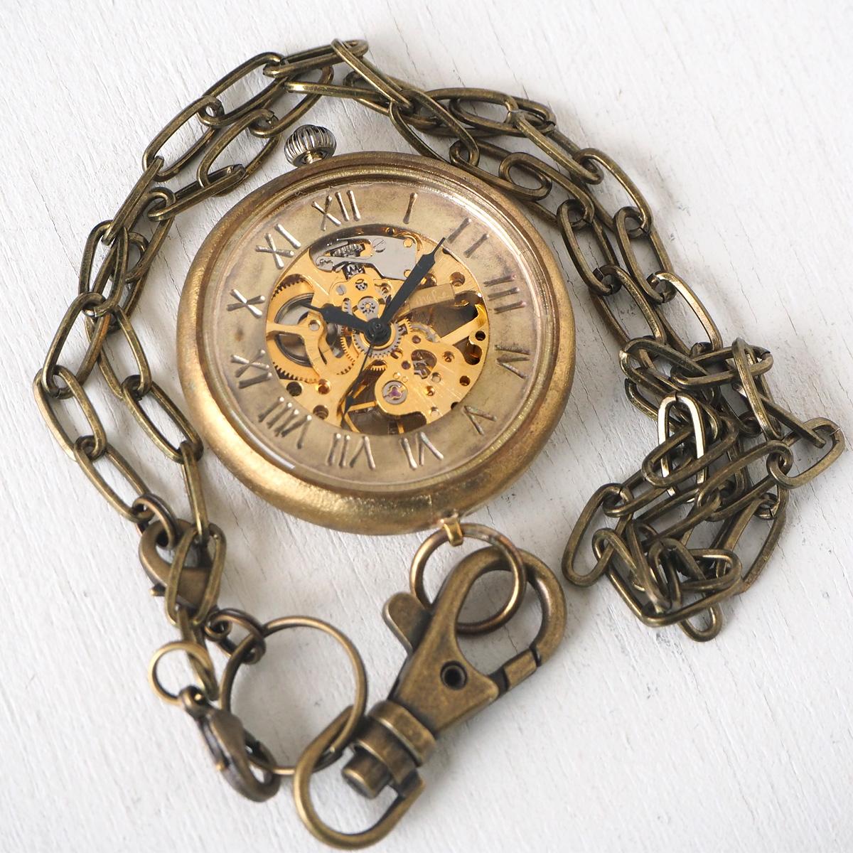 渡辺工房 手作り懐中時計 手巻き裏スケルトン ジャンボブラス 甲丸ケース 真鍮チェーン [NW-BHW110]