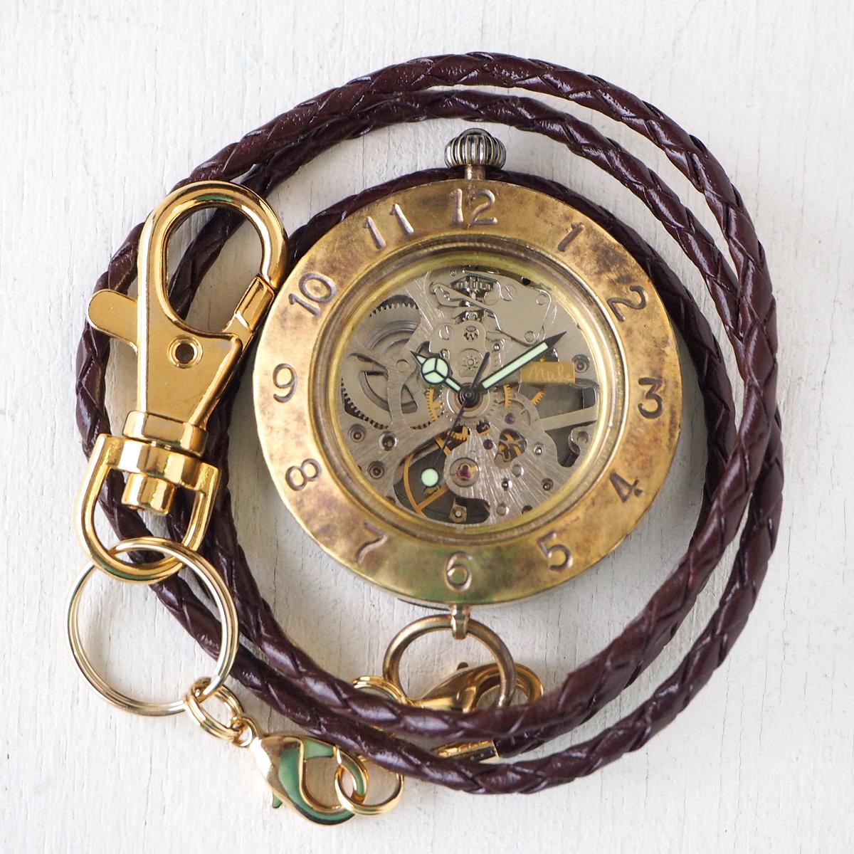 渡辺工房 手作り懐中時計 手巻き裏スケルトン ジャンボブラス 40mm [NW-BHW111]