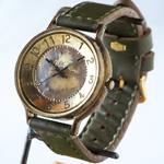 """渡辺工房 手作り腕時計""""GRANDAD-B""""ジャンボブラス 手縫いベルト [NW-JUM116]"""
