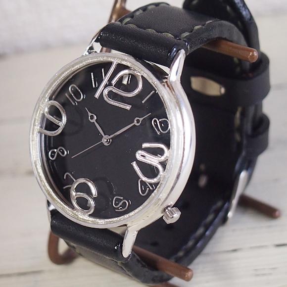 """渡辺工房 手作り腕時計 ジャンボシルバー """"GRANPA""""ブラック文字盤 [NW-JUM116-B-SV]"""