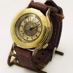 """渡辺工房・渡辺正明 手作り腕時計 """"BRASS INGOT"""" ジャンボブラス 手縫いベルト[NW-JUM120]"""