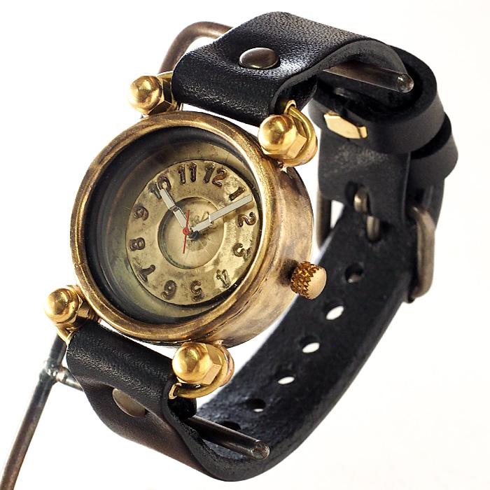 """渡辺工房 手作り腕時計 """"FROG"""" ジャンボブラス ブラックチューブ [NW-JUM29]"""