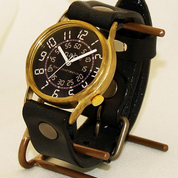 """【文字盤のカラーが選べます!】渡辺工房 手作り腕時計 """"J.S.B.""""デジタル風文字盤 ジャンボブラス [NW-JUM38]"""