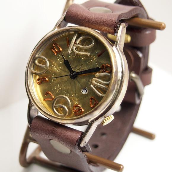 """渡辺工房 手作り腕時計 """"J.S.B.2""""デイト付き ジャンボブラス [NW-JUM38-DATE]"""