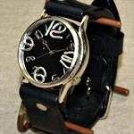 """渡辺工房 手作り腕時計""""J.S.S""""ジャンボシルバー ブラック文字盤 [NW-JUM38BSV-BK]"""