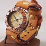 """渡辺工房 手作り腕時計 """"Explorer-JB3-DATE""""デイト付き立体銅ベゼル ジャンボブラス [NW-JUM65B-DATE]"""