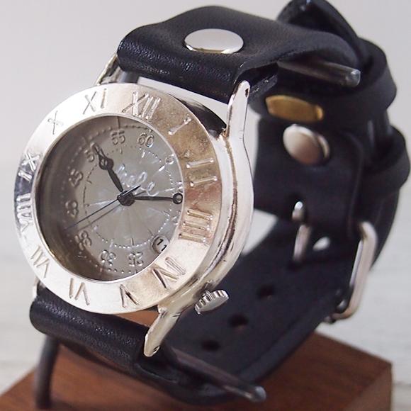 """渡辺工房 手作り腕時計 """"Explorer-JS-DATE"""" デイト付きジャンボシルバー [NW-JUM65SV-DATE]"""