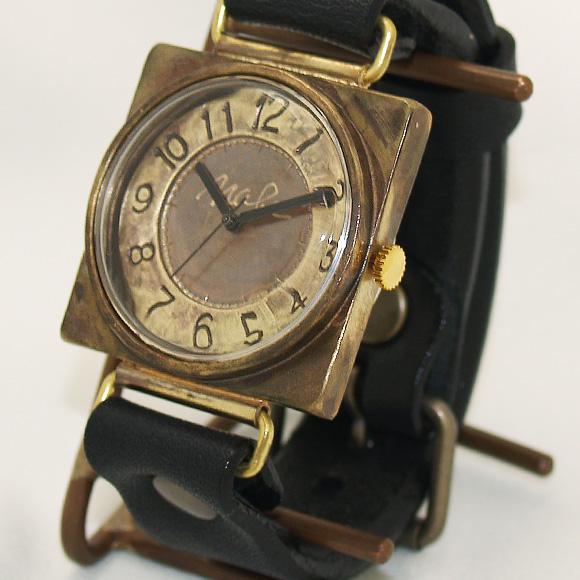 """渡辺工房 手作り腕時計""""CUBE-JB3""""刻印文字盤 ジャンボブラス [NW-JUM94]"""