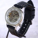 渡辺工房 手作り腕時計 手巻き式裏スケルトン ジャンボシルバー ゴールドムーブメント [NW-sam021]