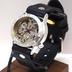 渡辺工房 手作り腕時計 手巻き式 裏スケルトン メンズシルバー [NW-SHW027]