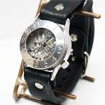 """渡辺工房 手作り腕時計 手巻き式 裏スケルトン """"Explorer2"""" メンズシルバー[NW-SHW033]"""