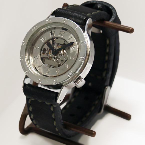 """渡辺工房 手作り腕時計 手巻き式 裏スケルトン """"BEEFY-SHW""""メンズシルバー[NW-SHW037]"""
