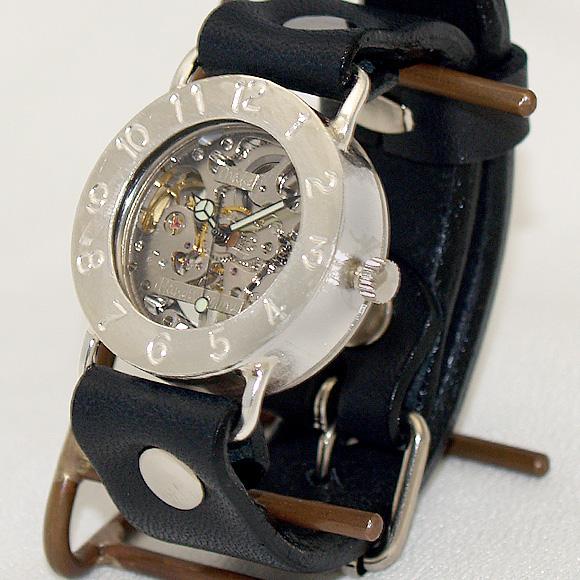 渡辺工房 手作り腕時計 手巻き式 裏スケルトン ジャンボシルバー [NW-SHW042]