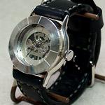 渡辺工房 手作り腕時計 手巻き式 ジャンボシルバー 手縫いベルト [NW-SHW044]