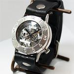 """渡辺工房 手作り腕時計 手巻き式 裏スケルトン""""Explorer"""" ジャンボシルバー[NW-SHW058]"""
