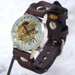 渡辺工房 手作り腕時計 手巻き式裏スケルトン ジャンボシルバー ゴールドムーブメント [NW-SHW060]