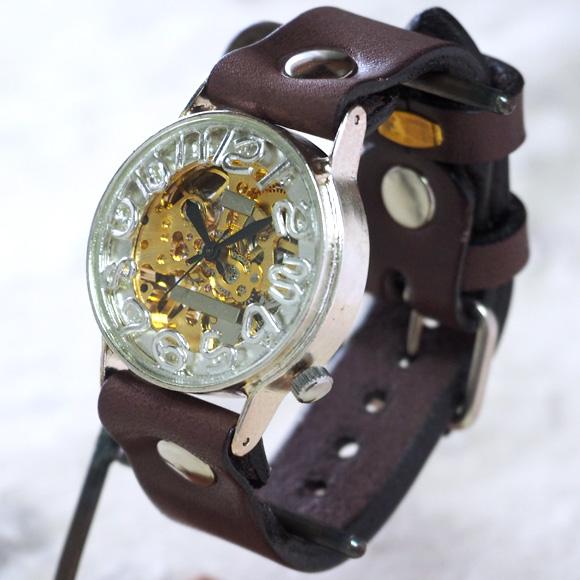 """渡辺工房 手作り腕時計 """"Index1-B-DATE"""" ジャンボブラス [NW-SHW078]"""
