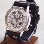 渡辺工房 手作り腕時計 手巻き式裏スケルトン ジャンボシルバー [NW-SHW078]