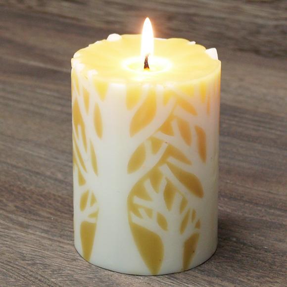 """nuri candle キャンドル作家 福間乃梨子 手作り蜜蝋(みつろう)キャンドル """"エルムの森で""""Lサイズ [NU-CRL-ELM02-L]"""