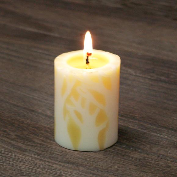 "nuri candle キャンドル作家 福間乃梨子 手作り蜜蝋(みつろう)キャンドル ""エルムの森で""Sサイズ [NU-CRL-ELM02-S]"